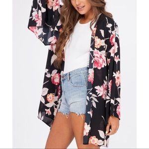 Peach Love California Floral Bell Sleeve Kimono